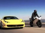 Ferrari 458 Italia против Ducati 1198S, видео